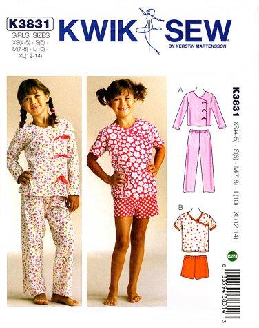 ecccc93e5 Kwik Sew Sewing Pattern 3831 K3831 Girls Sizes 4-14 Pajamas Tops Pants  Shorts