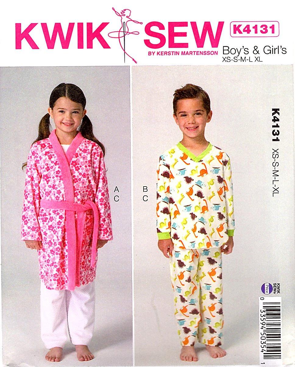 bfc8dbaf9 Kwik Sew Sewing Pattern 4131 K4131 Boys Girls Sizes 4-14 Front Wrap Robe  Pajamas