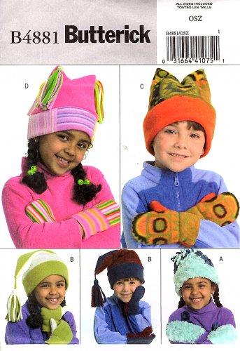 77b04c96ff2 Butterick Sewing Pattern 4881 B4881 Boys Girls Fleece Hat Mittens