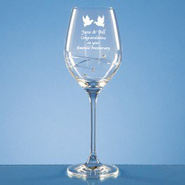 Single Diamante Wine glass w/ Spiral design cutting and Swarovski crystals