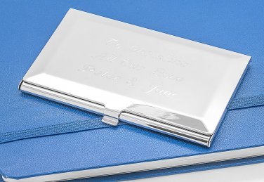 Personalised bevelled business card case in presentation box