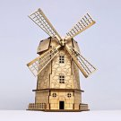 DIY 3D Solar Wooden Colorful LED light Puzzle Holland Windmill Wind Mill Toy Model