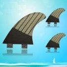 FCS Base G5 Size Fiberglass with Carbon Cover Surfboard Fins 3 pcs Set