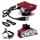 Red USB 7500 LM SolarStorm 3x CREE T6 LED Front Bike Bicycle Light Headlight