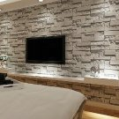 Grey Textured Effect Brick Stone Pattern Vinyl Feature Wall Paper Wallpaper Roll