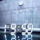Large Modern 3D Decoration Design 24 / 12 Digital Led Skeleton Wall Clock Timer