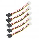 5X New IDE/Molex 4-Pin Male To Serial ATA SATA 15-Pin Female Power Adapter Cable