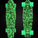 Green Patterned 22'' Retro Skateboard Penny Skate Board Graphic Plastic Deck