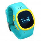 Blue Kid Child Soft Wrist band Dual GPS GSM Position Tracker Anti lost Watch SOS