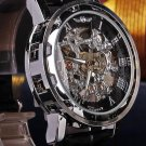 Classic Men Black Leather Dial Skeleton Mechanical Sport Army Wrist Watches