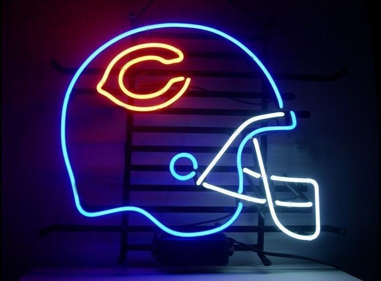 Football C Helmet Real Glass Neon Light Sign Home Beer Bar Pub Sign 17x14 inch