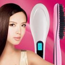 Automatic Hair Straightener Paddle Brush Comb LCD Iron Styler Tool PINK / WHITE