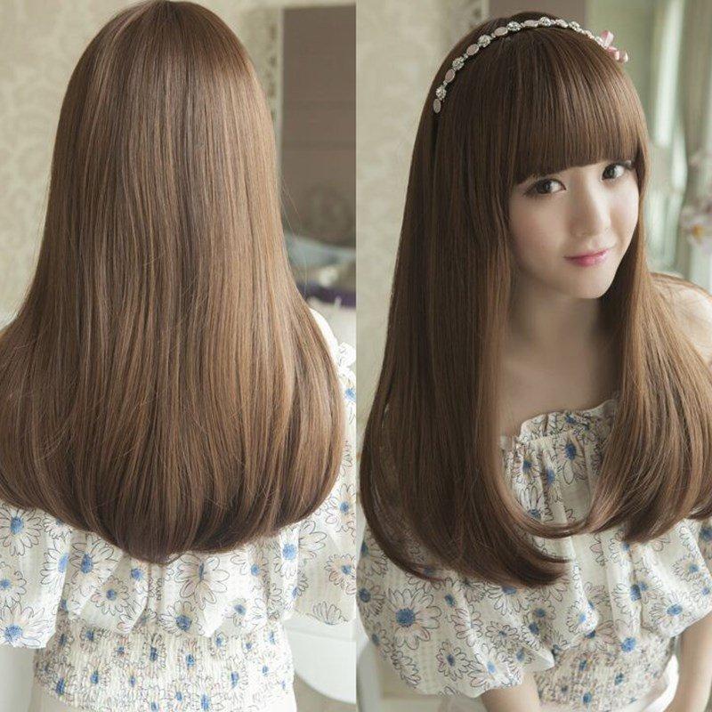 Women Girl Girls Looks Good Nice Long straight hair Fashionable Sweet Cute wig