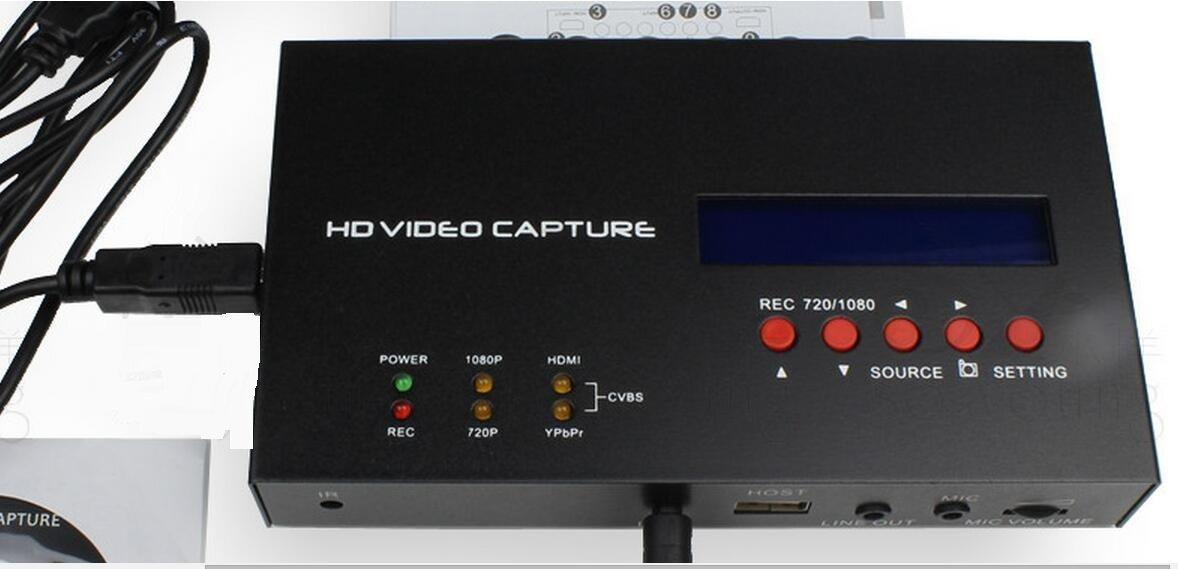 Timer recording HD video capture HDMI Ypbpr CVBS recorder for camera TV gameplay