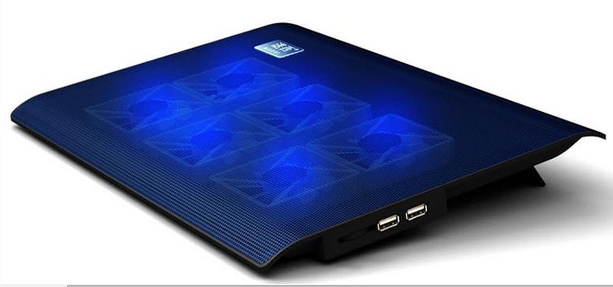 """6 Fans LED USB Port Slim Silent Cooling Pad Cooler For 10"""" to 15.4"""" Laptop Notebook"""