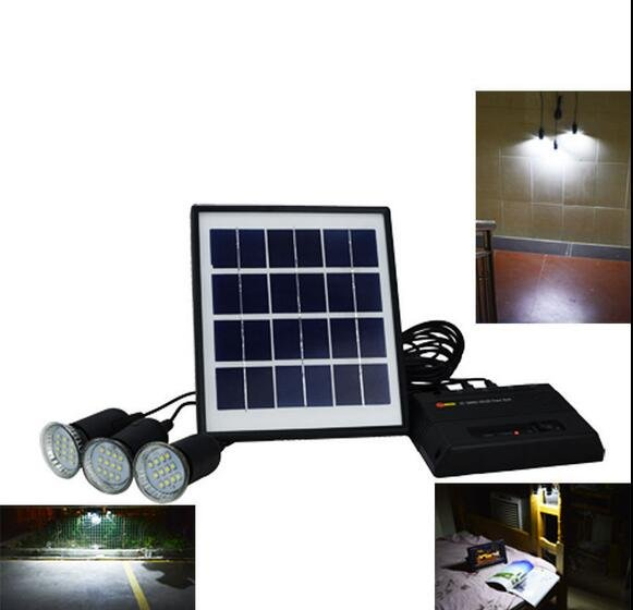 Green Energy Solar Power System with 3x LEDs Bulbs Solar Power Bank For Camping
