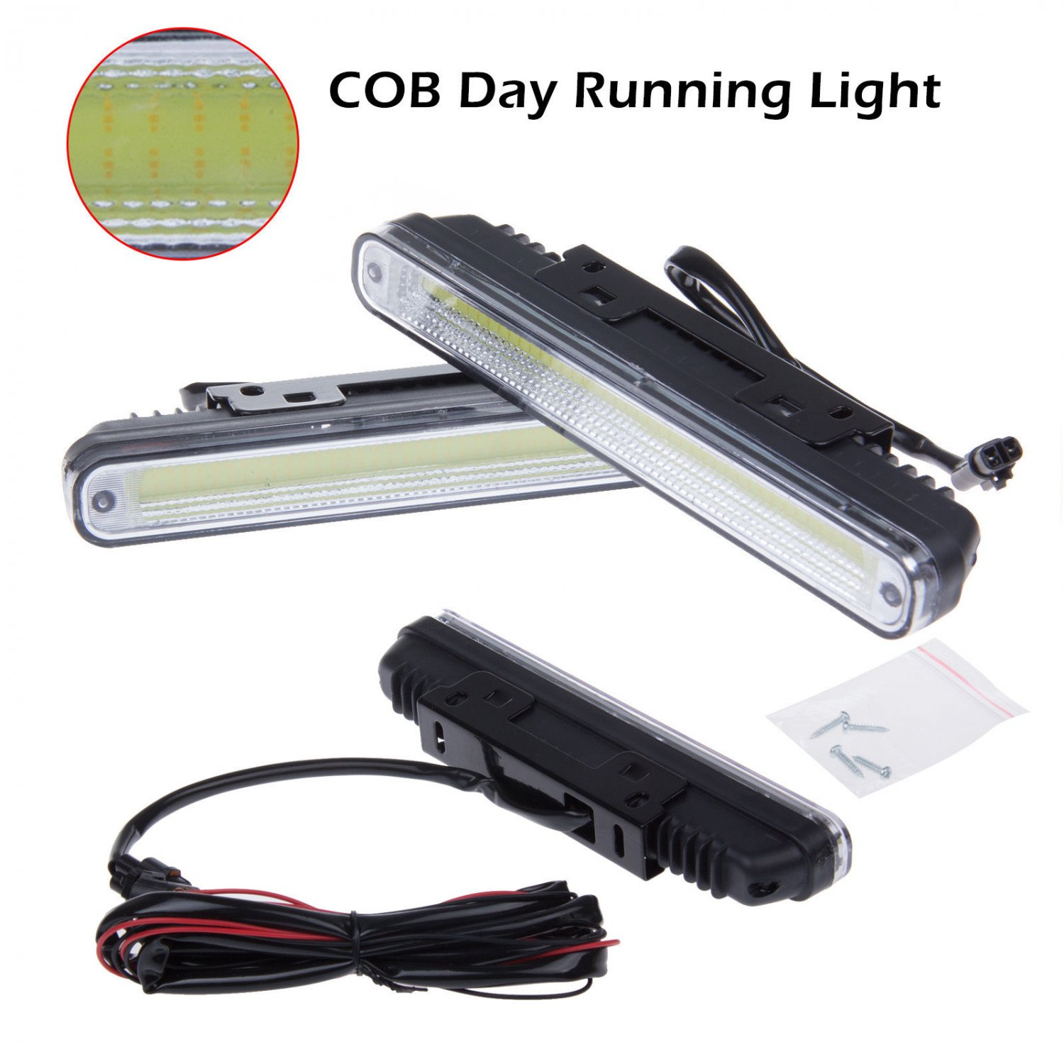 2pcs 12V COB LED DRL Daytime LED Fog Running Driving Light Lamp Bulb Waterproof