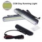 2pcs 12V COB LED DRL Daytime LED Fog Running Driving Light Lamp Bulb Waterproof