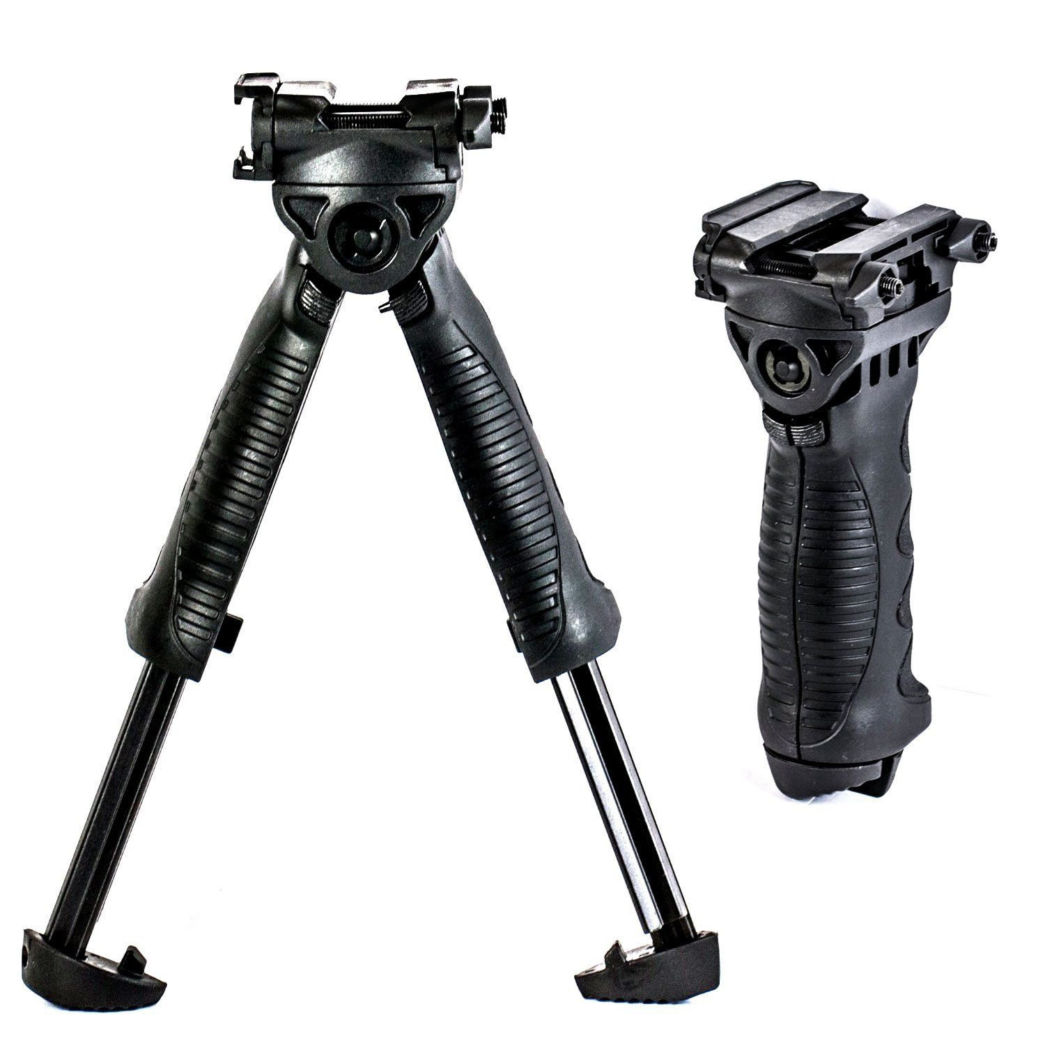 Tactical Bipod Grip Foldable Foregrip Swivel Rotating firearm Fits Picatinny Rail Rifle Mount