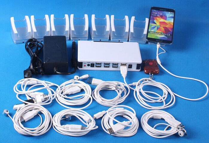 Retail Shop 8 Port iPhone Android Phone Security Display Shows Alarm System Sets