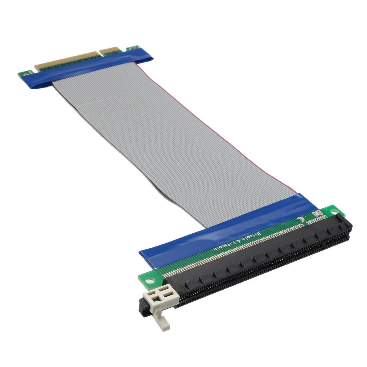 PCI-E PCIE PCI Express 8x to 16x Extension Cable Flex Ribbon 20cm Long