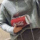Women Cute Rhinestone Cola Can Bottle Shape Clutch Bag Party Purse Chain Handbag