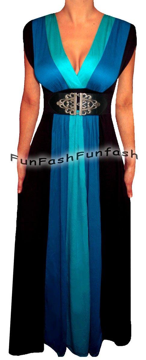 ZB1 FUNFASH BLUE BLACK COLOR BLOCK LONG MAXI COCKTAIL DRESS Plus Size XL 1X 16 �