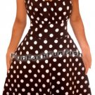 AF2 FUNFASH BLACK WHITE POLKA DOTS HALTER ROCKABILLY PLUS SIZE DRESS 1X 18 20