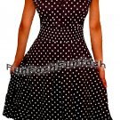 QI1 FUNFASH BLACK WHITE POLKA DOTS ROCKABILLY PEASANT DRESS Plus Size 1X XL 16
