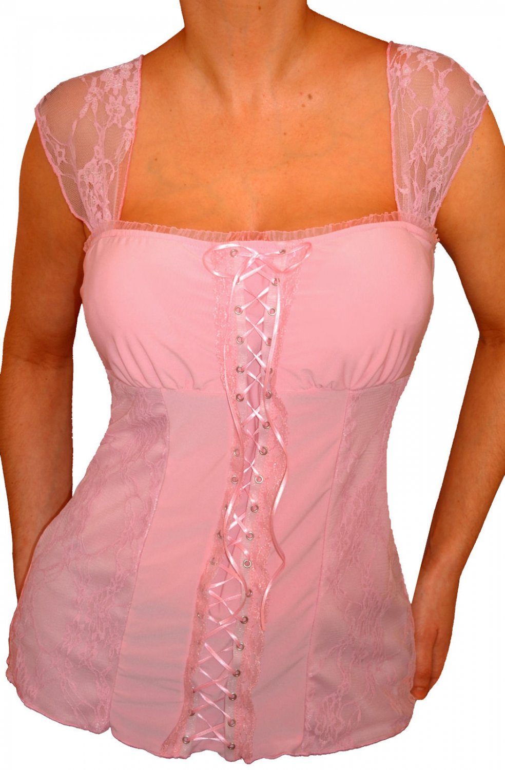 QR10 FUNFASH COTTON CANDY PINK LACE BUSTIER PLUS SIZE CORSET TOP SHIRT 1X XL 16