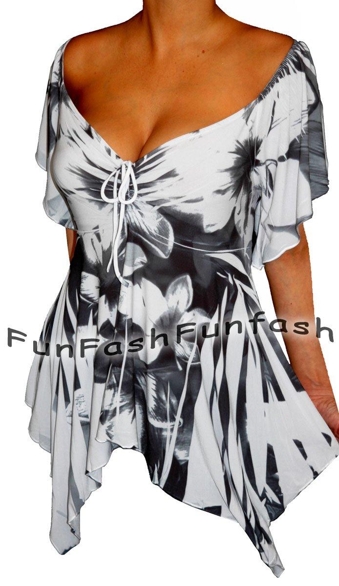 UT1 FUNFASH WHITE BLACK EMPIRE WAIST SLIMMING TOP SHIRT NEW Plus Size 1X XL 16