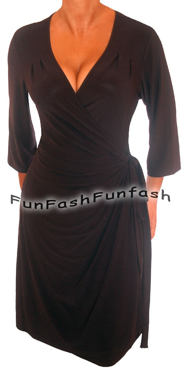 LK1 FUNFASH SLIMMING BLACK WRAP DRESS COCKTAIL DRESS PLUS SIZE DRESS 1X XL 16