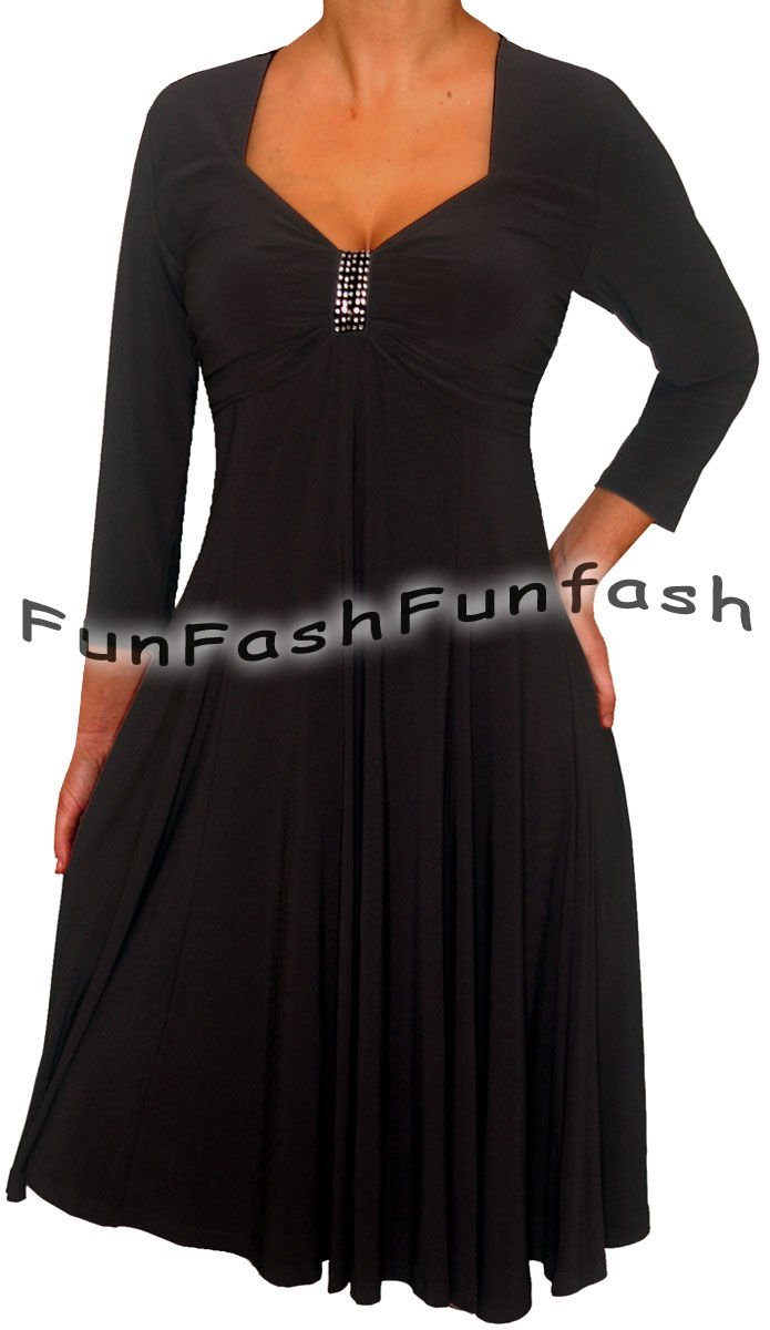 KL9 FUNFASH BLACK 3/4 SLEEVES EMPIRE WAIST COCKTAIL DRESS NEW Size L Large 9 11