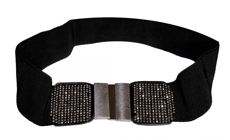 B003 Funfash Black Shimmering Stones Buckle Stretchy Elastic Belt Plus Size 2X