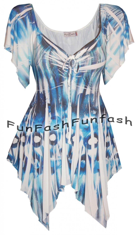 FT2 FUNFASH SLIMMING WHITE BLUE BLACK WOMENS PLUS SIZE TOP SHIRT BLOUSE 1X 18 20