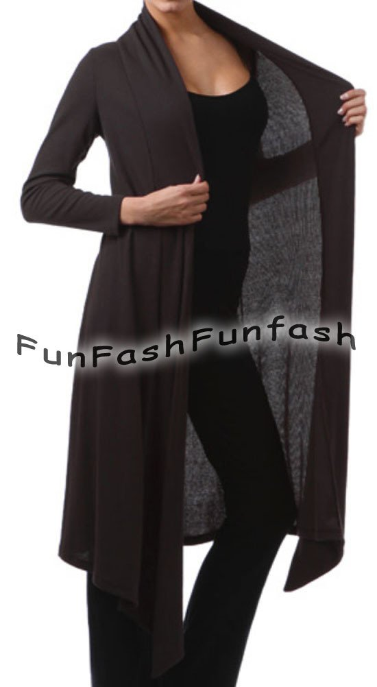 CR1 FUNFASH BLACK RIBBED LONG CARDIGAN DUSTER SWEATER JACKET Plus Size 1X XL 16