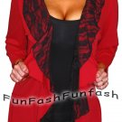AT1 FUNFASH RED BLACK LACE LAYERED CARDIGAN TOP SHIRT WOMENS Plus Size 1X XL 16