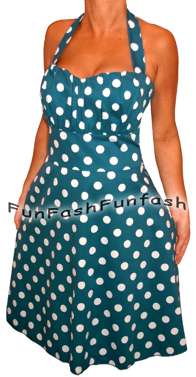VZ3 FUNFASH NEW BLUE WHITE POLKA DOTS ROCKABILLY HALTER PLUS SIZE DRESS 2X 22 24