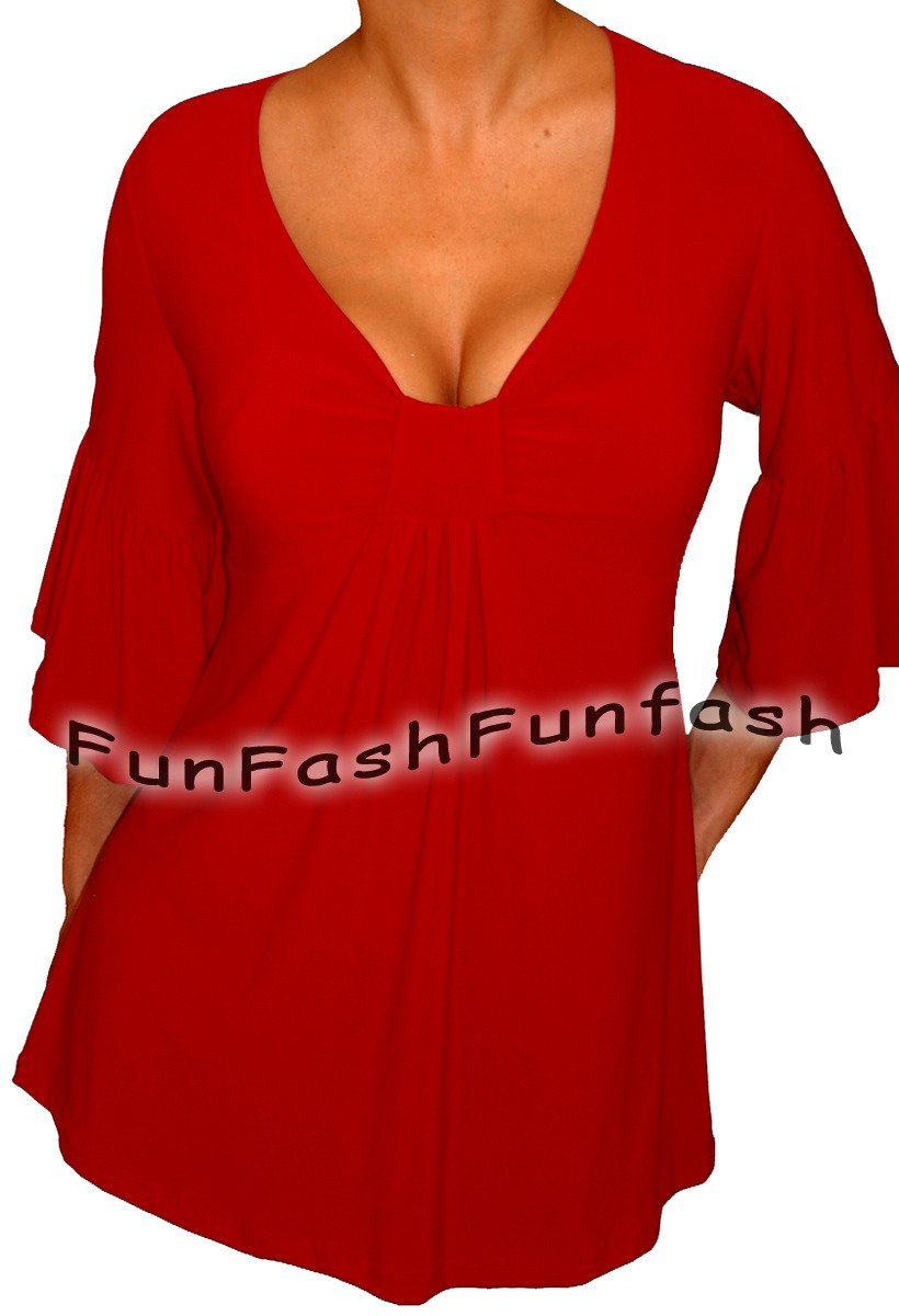 YW3 FUNFASH PLUS SIZE SLIMMING RED EMPIRE WAIST PLUS SIZE TOP SHIRT 2X 22 24