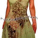 OF3 FUNFASH SAGE GREEN FLORAL SLIMMING EMPIRE WAIST PLUS SIZE DRESS NEW 2X 22 24