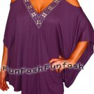 NH1 FUNFASH PURPLE BEADS ANGEL SLEEVES WOMENS PLUS SIZE TOP SHIRT NEW 1X XL 16