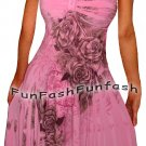 RO1 FUNFASH PINK ROSE EMPIRE WAIST COCKTAIL DRESS WOMEN PLUS SIZE DRESS 1X XL 16