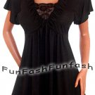 XM1 FUNFASH WOMENS PLUS SIZE SLIMMING BLACK LACE EMPIRE WAIST TOP SHIRT 1X XL 16