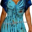 EY1 FUNFASH BLUE FLORAL SLIMMING EMPIRE WAIST WOMEN PLUS SIZE TOP SHIRT 1X XL 16