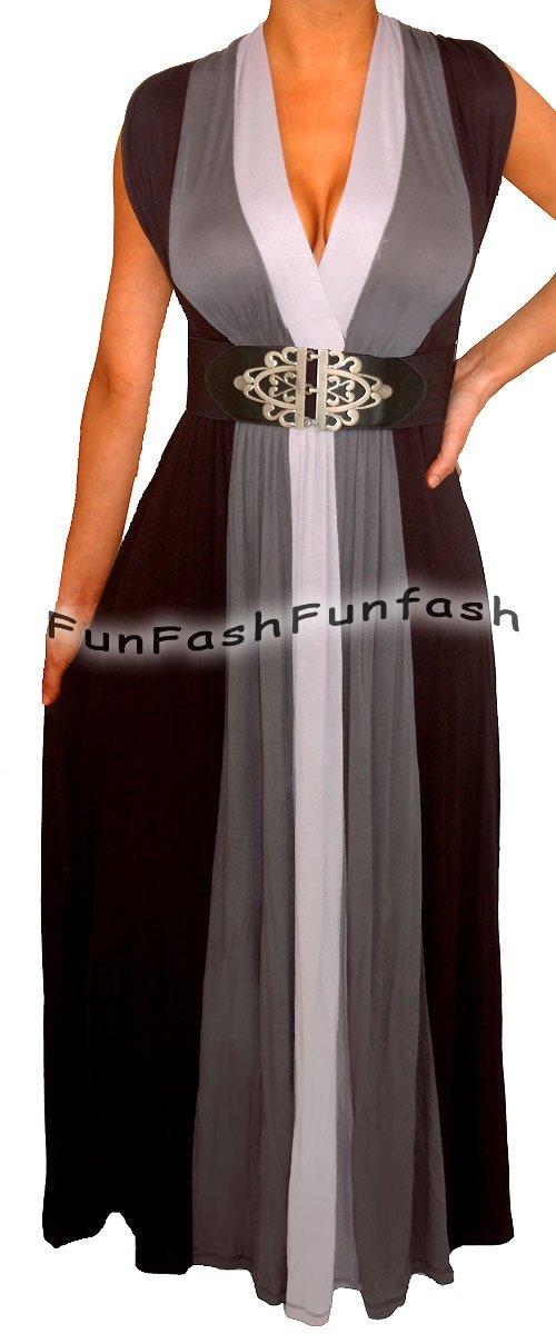 WP2 FUNFASH PLUS SIZE BLACK HEATHER GRAY LONG MAXI PLUS SIZE DRESS 1X 18 20
