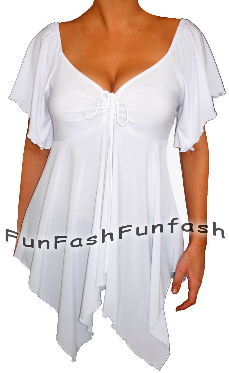 SU1 FUNFASH SLIMMING WHITE EMPIRE WAIST NEW PLUS SIZE TOP SHIRT BLOUSE 1X XL 16