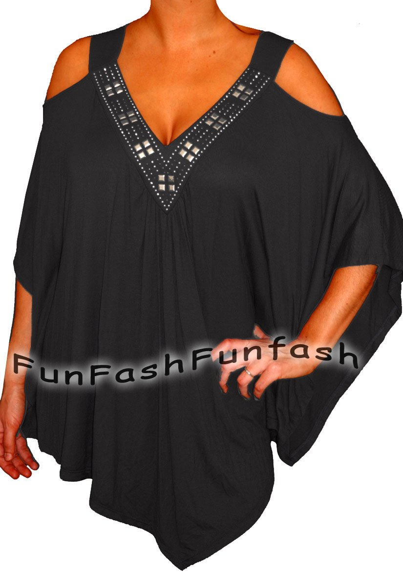 PS1 FUNFASH PLUS SIZE BLACK BEADS ANGEL SLEEVES PLUS SIZE TOP SHIRT NEW 1X XL 16
