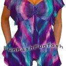 ZN3 FUNFASH SLIMMING PURPLE EMPIRE WAIST TOP SHIRT CLOTHING Plus Size 2X 22 24