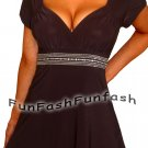 DD9 FUNFASH BLACK RHINESTONES EMPIRE WAIST WOMENS TOP SHIRT NEW Size Large 9 11