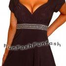 DD9 FUNFASH BLACK RHINESTONES EMPIRE WAIST WOMENS TOP SHIRT NEW Size Large 9 11